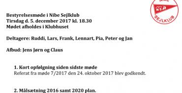 Referat fra Bestyrelsesmøde 05-12-2017