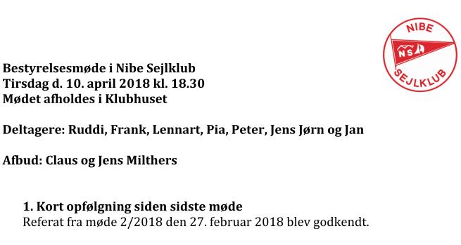 Referat bestyrelsesmøde 10/4 2018