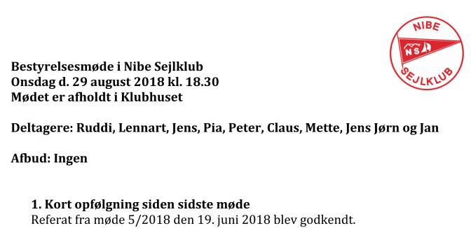 Referat fra bestyrelsesmøde den 29/8 2018