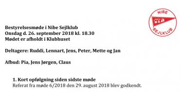 Referat bestyrelsesmøde 26-09-2018
