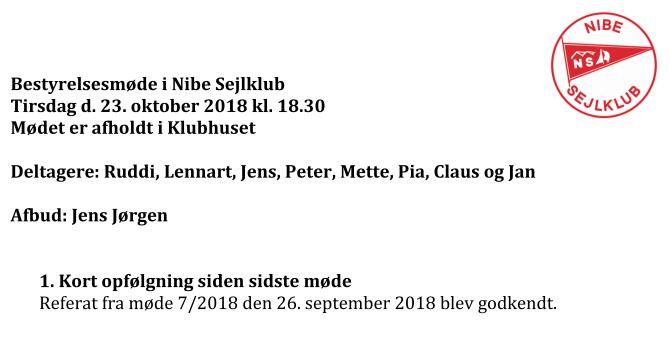 Referat fra bestyrelsesmøde den 23-10-2018