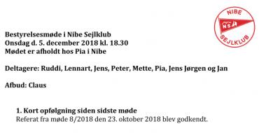 Referat fra bestyrelsesmøde den 5/12 2018