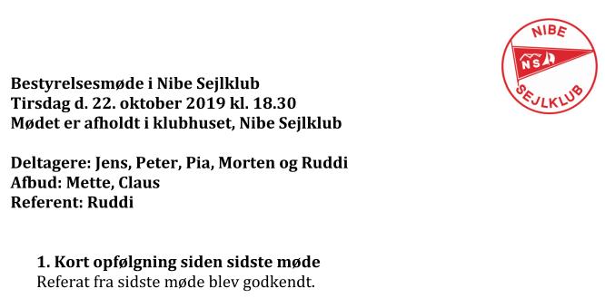 Referat NS-bestyrelsesmøde 22-10-19